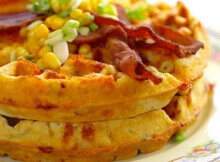 Over The Top Bacon and Cheddar Cornmeal Waffles