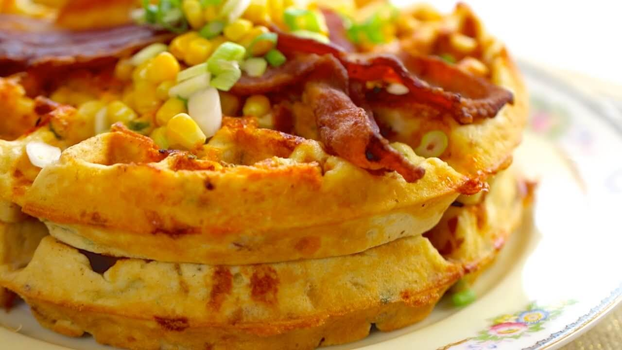 Over The Top Bacon and Cheddar Cornmeal Waffles - yummy tummy zone