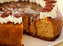 Pumpkin Cheesecake With Pecan Praline Sauce Is A Goodness Overload