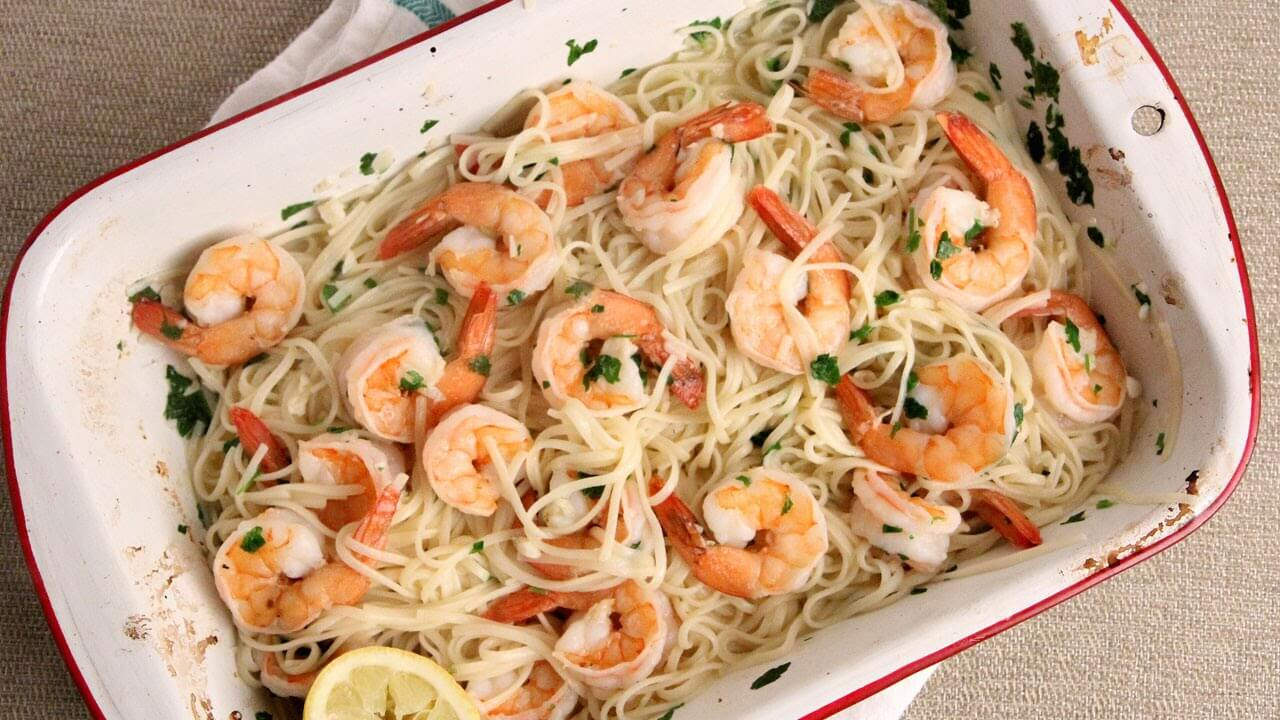 Easy Peasy 10 Minute Oven Roasted Shrimp Scampi